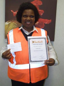 Directors Golden Employee of the month award. This award is the Highest award that can be achieved in the Company.   Well done Nomhle Mati well deserved