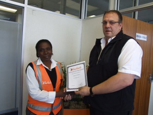 June 2015 | Well done to Nomvuyo George for the employee of the month award